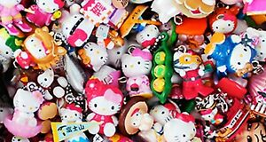 "10/20/30 pcs Anime Cat Kitty 0.7""-1"" Japan Figure Keychains Keyring Strap Charm"