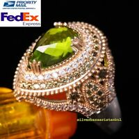Turkish Handmade 925 Sterling Silver Peridot and Zircon Stone Ladies Womans Ring