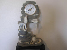 """Wolf Wolves Resin Figurine w/Clock ~ 11"""" Tall"""