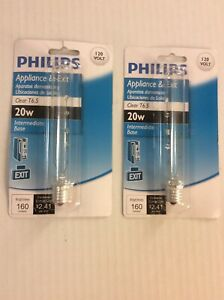 (2) Philips T6.5 Incandescent Exit Sign/Refrigerator/Appliance 20w Light Bulbs