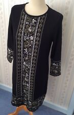 Señoras Vestido Elástico adornado con patrón Monsoon Negro-UK12