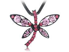 Contorno Rosa Negro Cristal Estrás Libélula Cadena Collar Colgante de moda