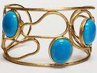 Vintage RALPH LAUREN Turquoise Glass Cab Gold Tone Abstact Wide Cuff Bracelet