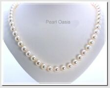 AA 7-7.5MM White Akoya Cultured Pearl Strand Necklace 14K Gold Clasp, 18""