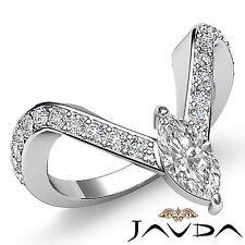 Prong Set Marquise Diamond Fashion Engagement Ring GIA H SI1 Platinum 1.35 ct