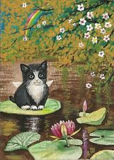 ACEO Print Of PAINTING RYTA TUXEDO CAT KITTEN ANGEL FLOWER LILY FAIRY RAINBOW