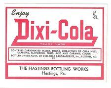 Dixi-Cola Flaschen Etikett USA 1930er Soda Bottle Label