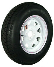 "13"" 4-4"" Bolt Circle White Spoke Wheel and ST17580D13C Bias Trailer Tire"