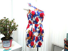 """""""top shop"""" ladies sz10 white one shouldered dress  red blue and gold pattern"""