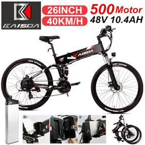 """26"""" Vélo électrique 500W VTT pliant ebike 40km/h montagne électrique 21 vitesses"""