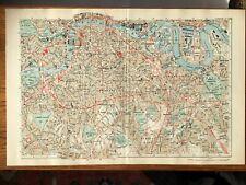 BACON LARGE CITY MAP OF LONDON SE C1907 - ORIGINAL