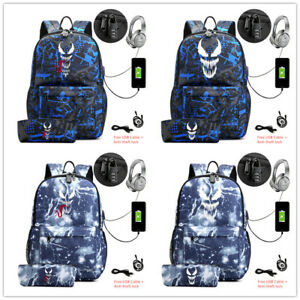 2 pcs Venom backpack with pencil case USB charge school laptop bags travel bags
