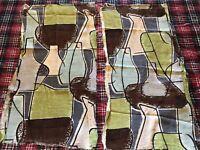 2- Mid Century Modern Atomic Pastel Barkcloth Pieces