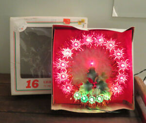 VINTAGE Red Tinsel Christmas Tree Topper WREATH w 16 LIGHT WORKS w BOX