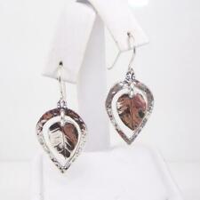 99ae5b617 Didae Sterling Silver Leaf Dangle Hook Modernist Earrings LFE3