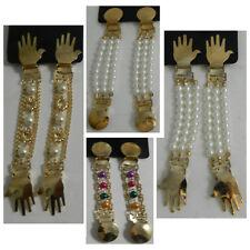Sujeciones para mangas 4 pares perlas doradas multicolores blancas clips joyas