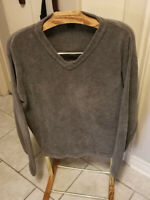 Guess Ribbed V-Neck Pullover Sweater Brown Taupe mens XL