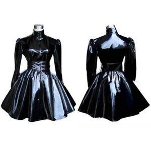 Sissy Maid Black Pvc Dress Cosplay Costume