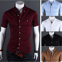 Men Slim Fit T Shirts Tee Tops Collared Formal Short Sleeve Casual Work Business