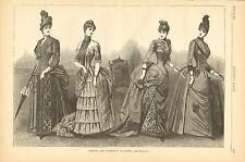 Victorian Ladies Fashion, Visiting, Reception, Vintage, 1887 Antique Art, Print,