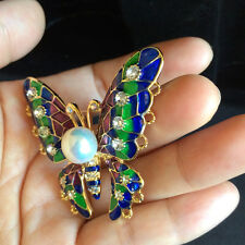 Amazing freshwater white pearl butterfly colorful Crystal  Brooch Jewelry