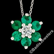 14k White Gold Round Brilliant Emerald & Diamond Flower Cluster Pendant Necklace