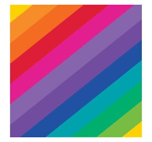 RAINBOW BIRTHDAY PARTY SMALL STRIPED BEVERAGE NAPKINS SERVIETTES (PACK OF 16)
