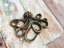 Large Octopus Pendant Connector Antiqued Bronze Kraken Charm Steampunk 43mm