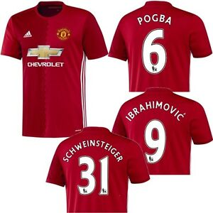 adidas Manchester United Home Heimtrikot 2016 / 2017 rot Pogba Ibrahimovic