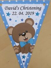 Personalised Cute Bear Boy bunting / Birthday/ Christening/ Baby Shower