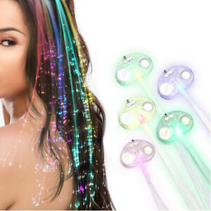 LED Fiber Hair Flashing Optic Hairpin Light-Up Braid Luminous Rave Party lot