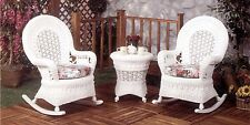 Real Wicker White Rocker 3PC Set (2-Rockers and 1-Side Table)