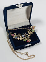 Vintage Necklace Gold Tone Collar Length Aurora Borealis Crystals Pretty Kitsch