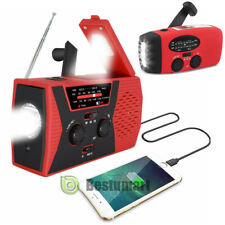 Emergency Solar Hand Crank Weather Alert AM/FM/NOAA Radio SOS Power Bank LED USB