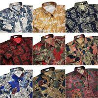 Mens Thai Silk Shirt Paisley Hawaiian Style Patterned Long - Short Sleeve Casual