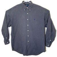 Ralph Lauren Mens Large Green Checkered Plaid Long Sleeve Button Up Dress Shirt