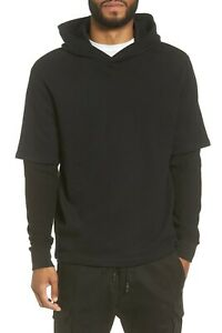 A029 NWT VINCE DOUBLE LAYER WAFFLE SLEEVES MEN HOODIE SIZE S, L $225