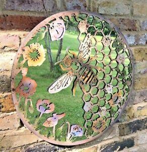 Garden Mirror Bee & Beehive Design Garden Ornament Metal Wall Art 60CM