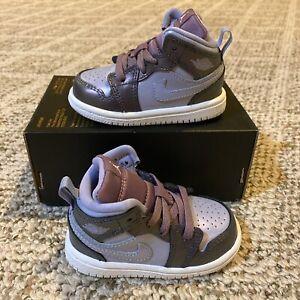 Nike Jordan 1 Mid SE Monsoon Blue/Purple Rise TD Toddler Size 4c AV5172 400 B60