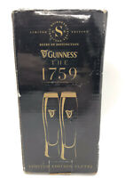 Limited Edition Pair Of GUINNESS 1759 Signature Series Gold Foil Flutes In Box