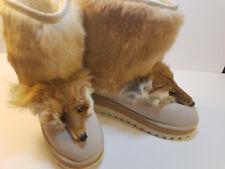 Women's Winter 100% Real Leather Fox Fur/Head Flat Heel Winter Shoes Size 8