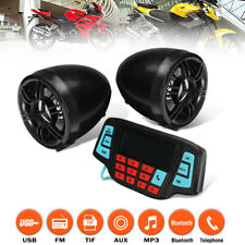 2X Motorcycle Handlebar Audio System Bluetooth USB SD FM Radio MP3 Speakers 12V