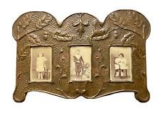 Cadre Porte-Photo Triple Art Nouveau & Chêne & Jugendstil Antique Photo Frame