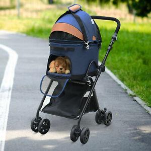 New Luxury Folding Pet Stroller Removable Carrier Adjustable Canopy Bag Brake