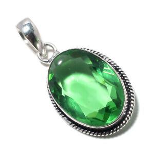 "Green Topaz Gemstone 925 Sterling Silver Pendant Handmade Jewelry 1.95"" T304"