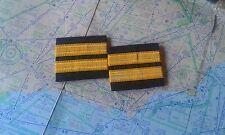2 bars pilot epaulette cadet gold stripes galones piloto epaulettes