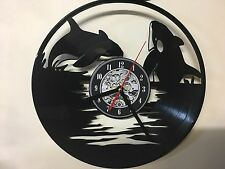 Repurposed Vinyl Record Clocks and Wall Art -  Orca Whale 1