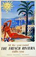 "Vintage Illustrated Travel Poster CANVAS PRINT French Riviera Calls 24""X36"""