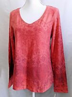 SONOMA WOMEN S M V NECK LONG SLEEVE TEE T SHIRT TOP BLOUSE CORAL PLUM FLORAL