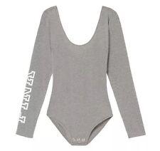 Victoria's Secret PINK Scoop Neck Long Sleeve Bodysuit Heather Gray White Logo M